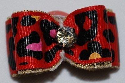 Leopard Ribbon Dog Bows