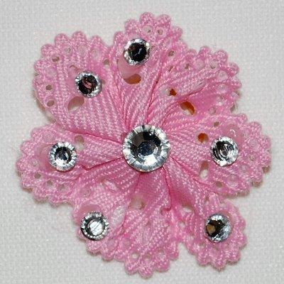 Pink Flower with Rhinestones Dog Bow