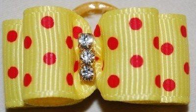 Polka Dot Dog Bows with 3 Rhinestone