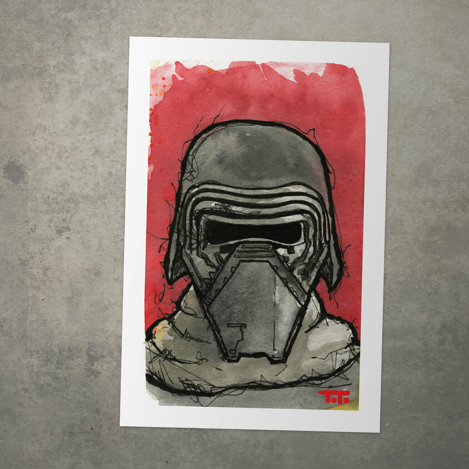 "Star Wars Watercolour Print - ""Kylo Ren"""