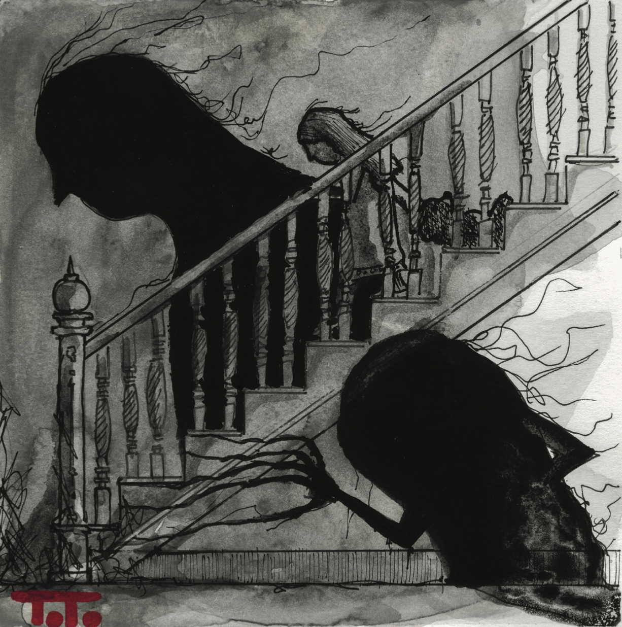 "InkTober 2014 POSTCARD - 13 ""Staircase"""