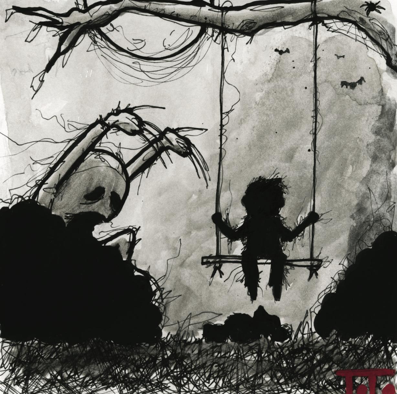 "InkTober 2014 POSTCARD - 02 ""Swing"""