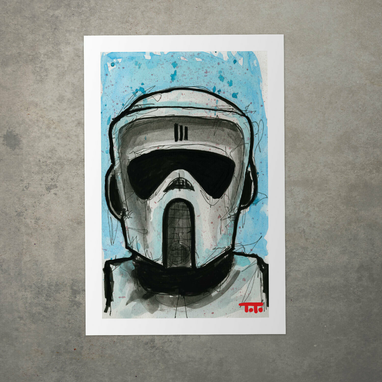 "Star Wars Watercolour Print - ""Scout Trooper"""