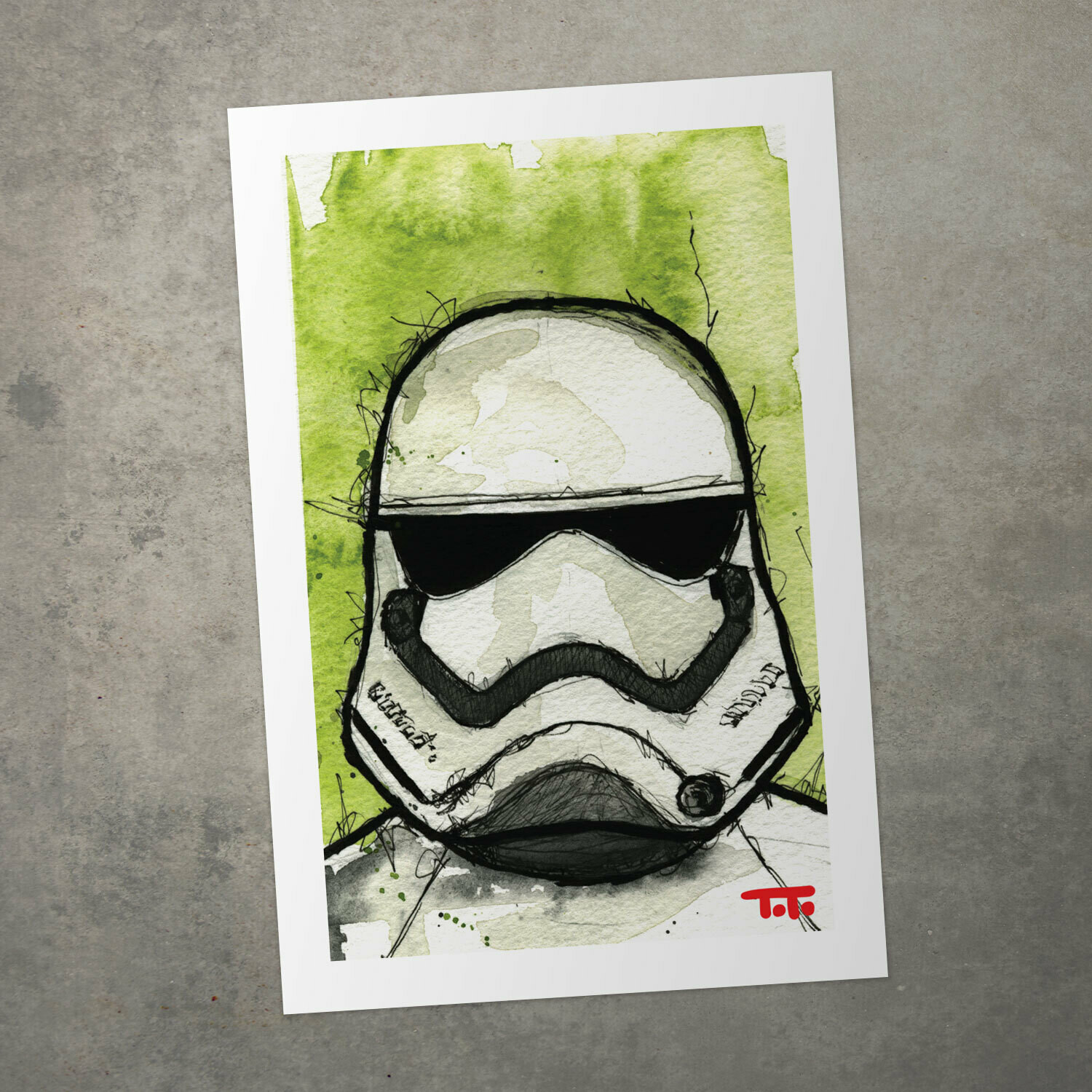 "Star Wars Watercolour Print - ""First Order Stormtrooper"""