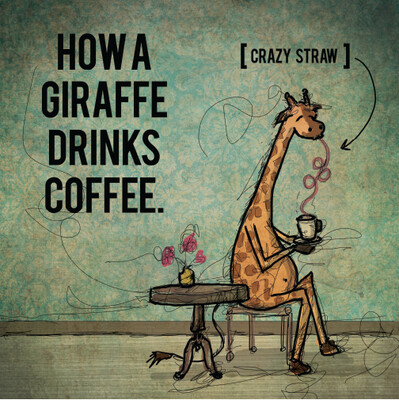 """""""Giraffe Crazy Straw"""" Print"""
