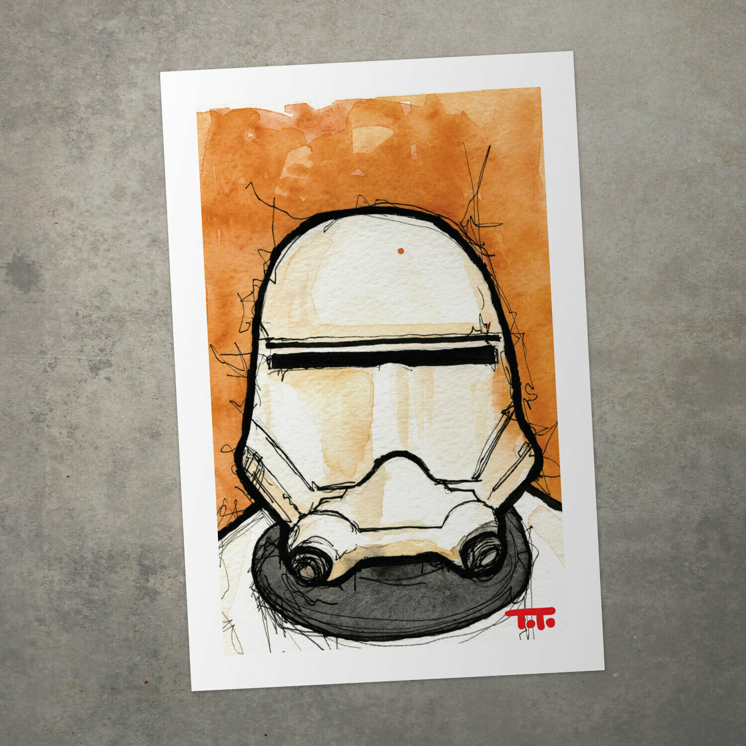"Star Wars Watercolour Print - ""Flame Trooper"""