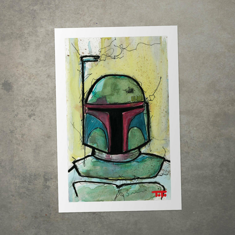 "Star Wars Watercolour Print - ""Boba Fett"""