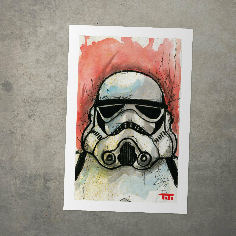 "Star Wars Watercolour Print - ""Stormtrooper"""