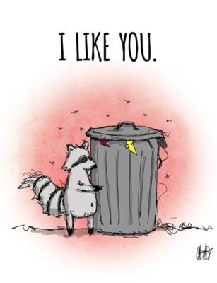 """CARD - Woodland - RACCOON - """"I like you"""""""