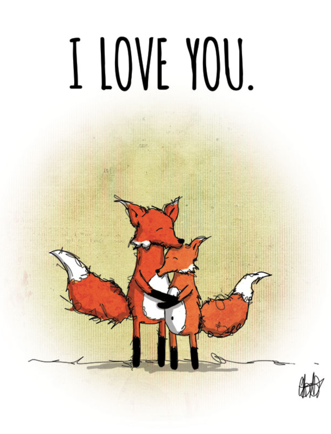 "CARD - Woodland - FOXES - ""I love you"""