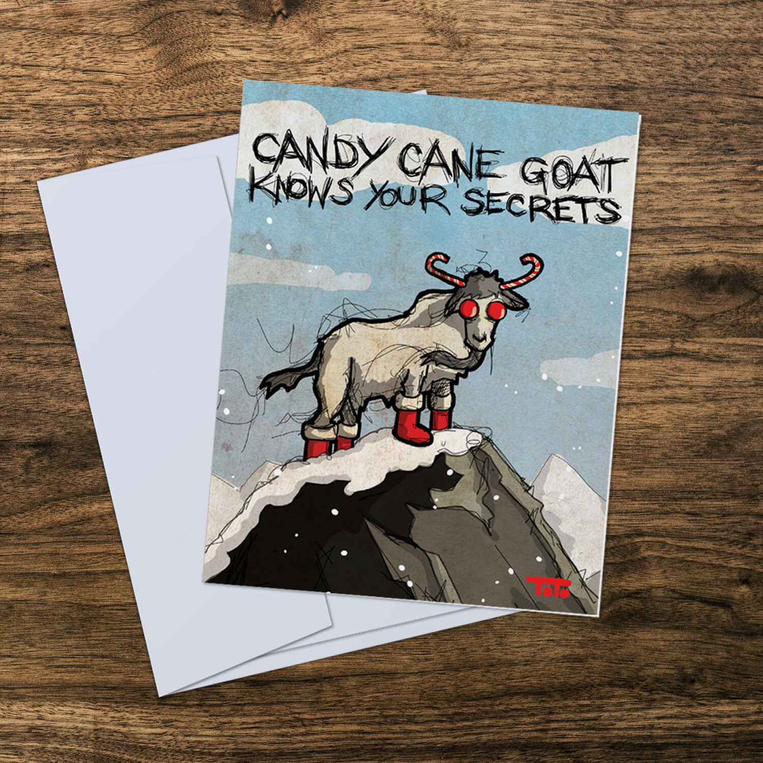 Candy Cane Goat Card