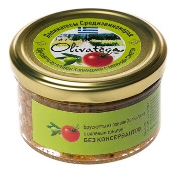 Брускетта из зеленых оливок Халкидики и вяленых томатов, 150 г