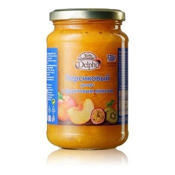 Персиковый десерт с фруктовым миксом, 360  г