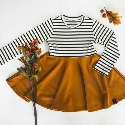 Robe circulaire pour filles - Rayé noir/Ocre