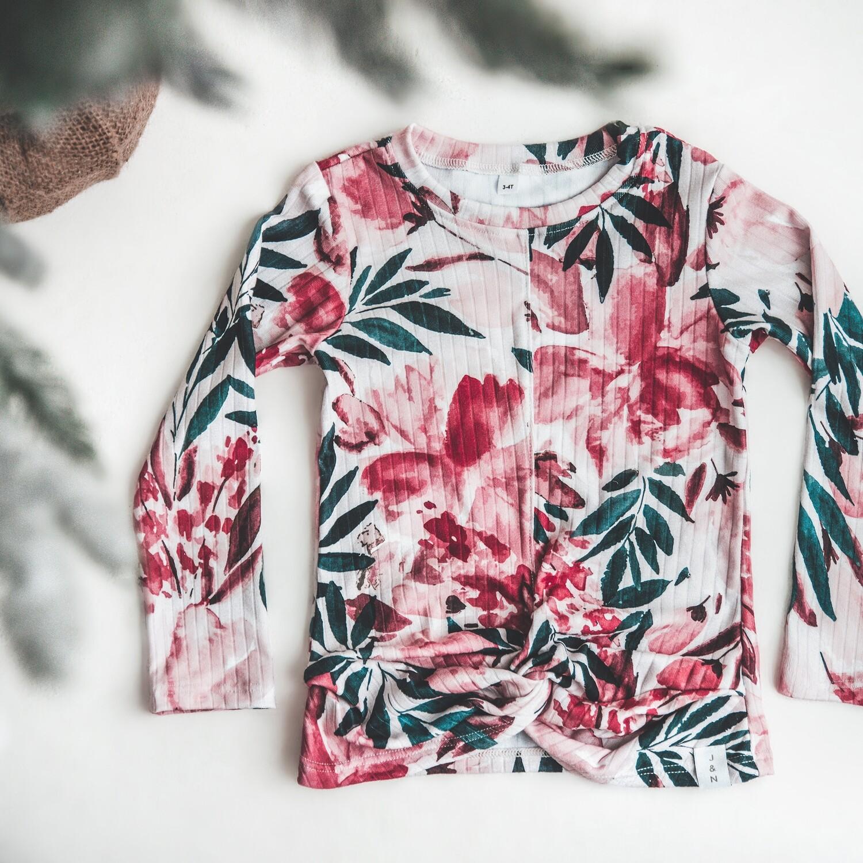Chandail croisé pour filles - Floral Émeraude