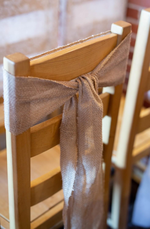 Burlap chair tie