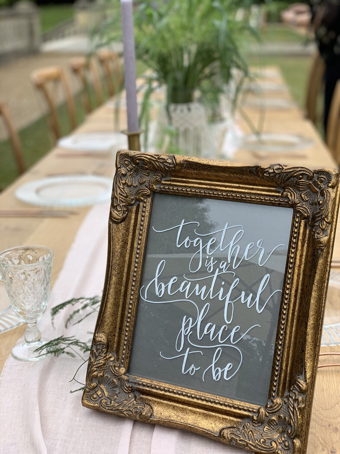 """Decorative Gold Frame And Sign """"Together is A Beautiful Place To Be"""""""