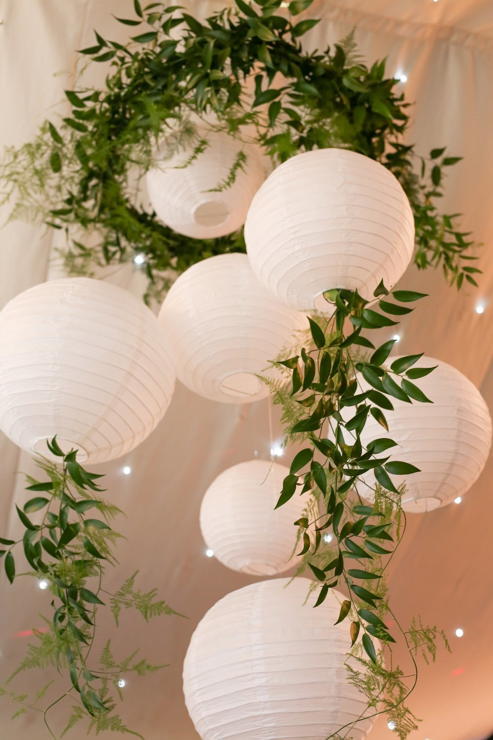Cluster - Foliage hoop with paper lanterns