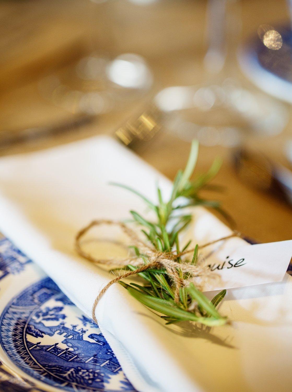 Rosemary or Lavender sprig with Kraft name tag & twine tie