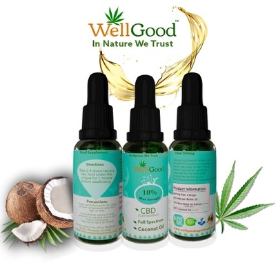 10% High Strength Hemp Drops with Coconut Oil [Full Spectrum} 1000mg 10ml | 10 day supply