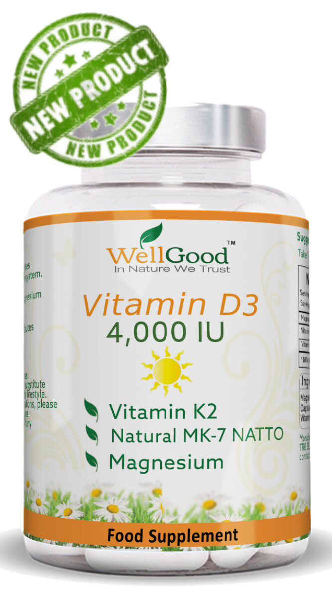 HIGH STRENGTH Vitamin D 4000 IU with Vitamin K as NATTO + Magnesium Glycinate *Immune & Winter Support | 2 Months Supply