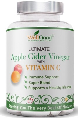 Pure Apple Cider Vinegar with Vitamin C | 6 Week Supply | Ultimate combination for your Immune system and alkaline diet