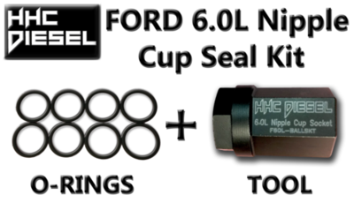 FORD 6.0L Diesel ~Nipple Cup/Ball Tube Socket & 8-Extreme Duty Viton Seals