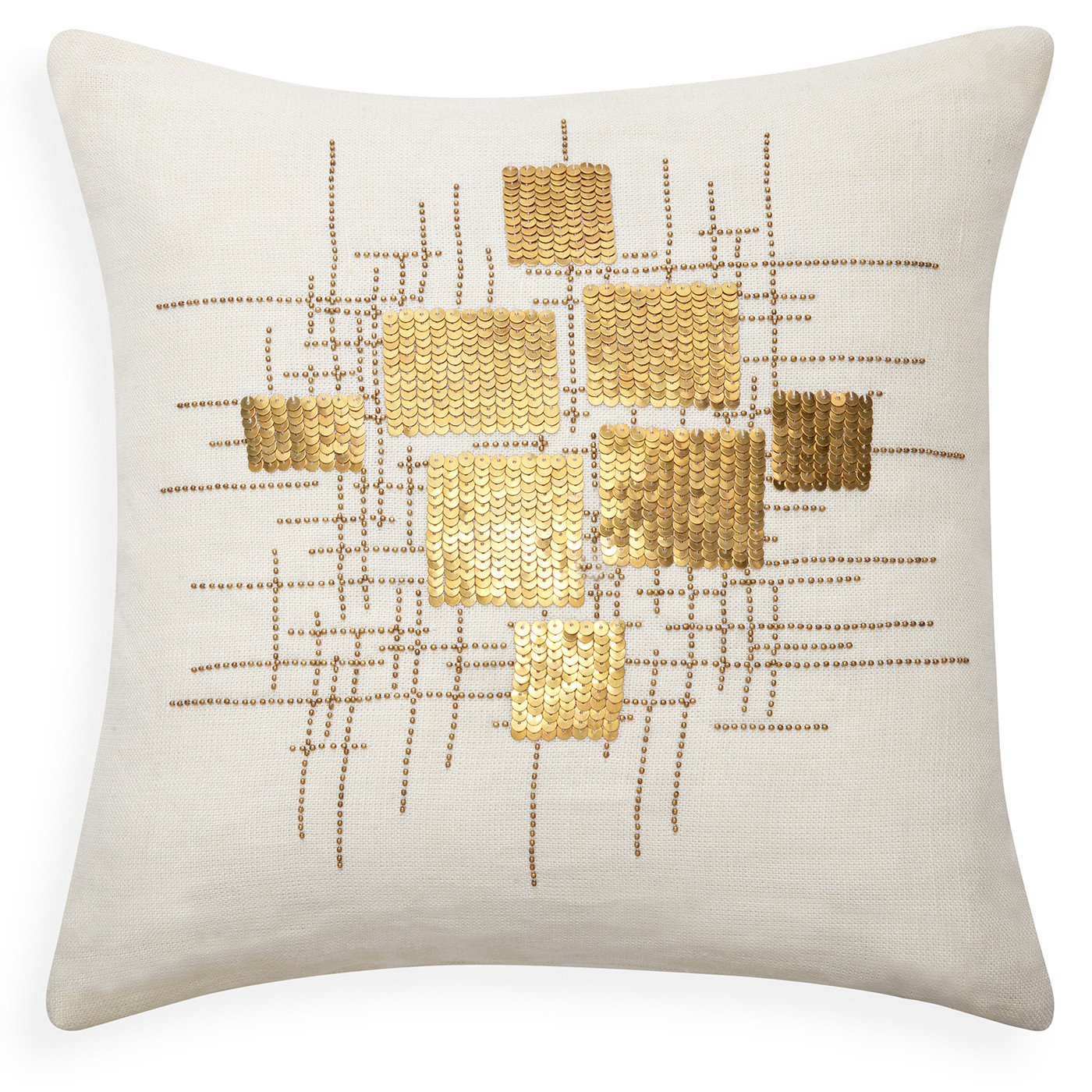 "Jonathan Adler Talitha Puzzle Gold  16"" x 16"" Pillow"