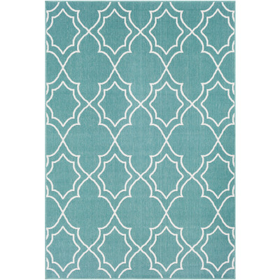 Alfresco Indoor/Outdoor Rug | Teal & White | 8 Sizes