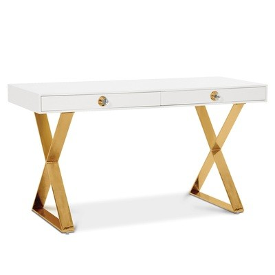 Channing Desk | White with Brass