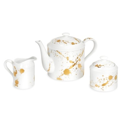 Jonathan Adler White and Gold Teapot Set
