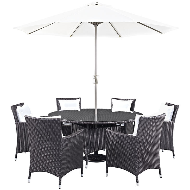Hinsdale Patio 8 Piece Round Dining Set with Umbrella