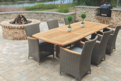 Naples Teak Extendable Dining Table Set with 6 Chairs