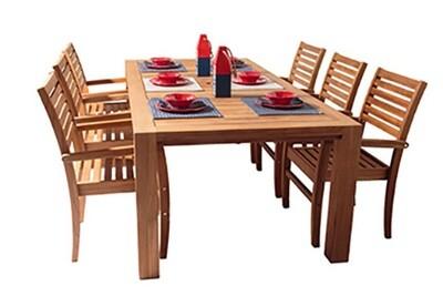 7 Piece Deluxe Teak Dining Set