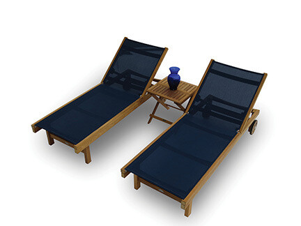 South Beach Teak Outdoor 3 Piece Sling Chaise Set