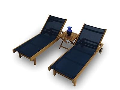 Teak Outdoor 3 Piece Sling Chaise Set