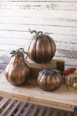 Metal Pumpkins with Copper Finish   Set of 3