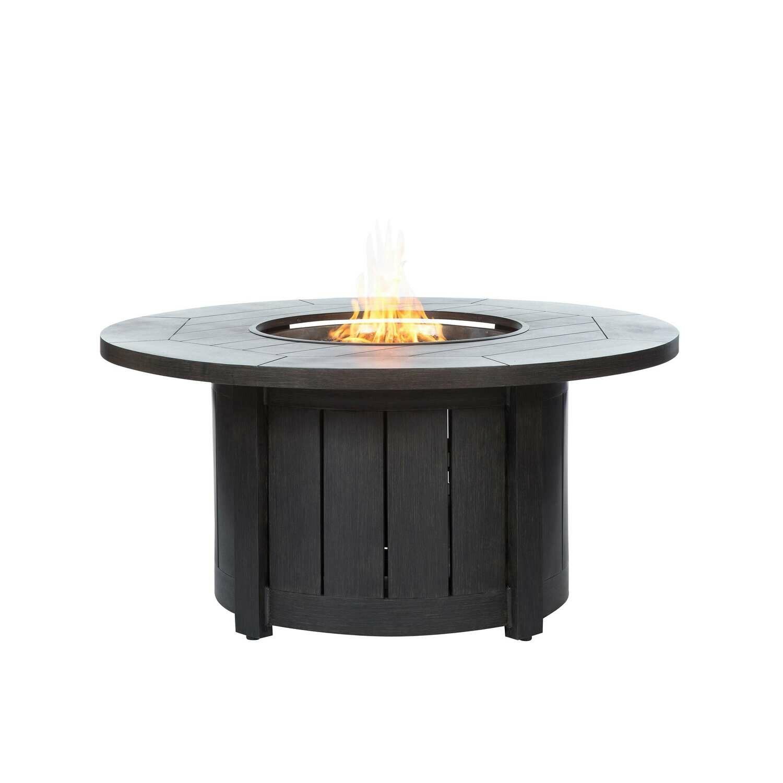 "Aluminum 50"" Round Fire Pit Table - Chestnut"