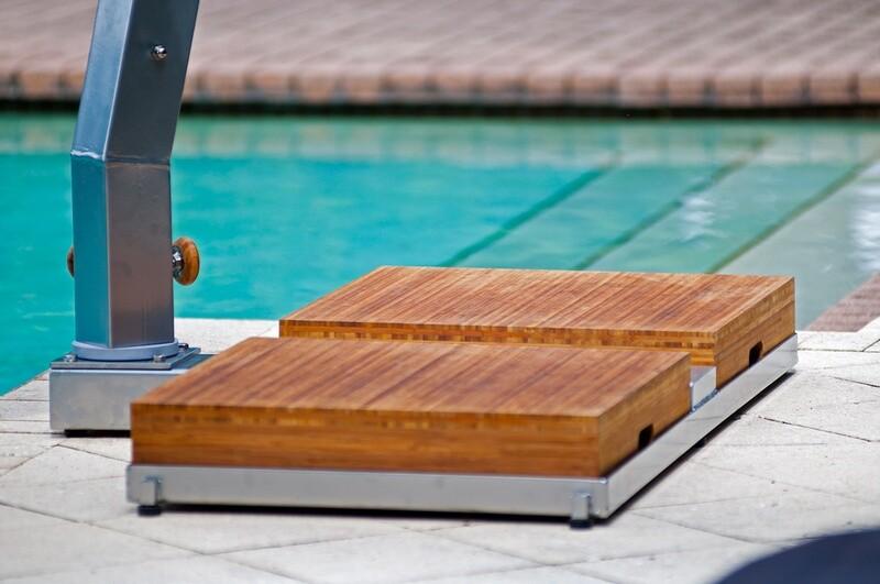 Levante Bamboo Cantilever Umbrella 310 lbs Base System