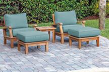 South Beach Teak Reclining Chair 3 Piece Set