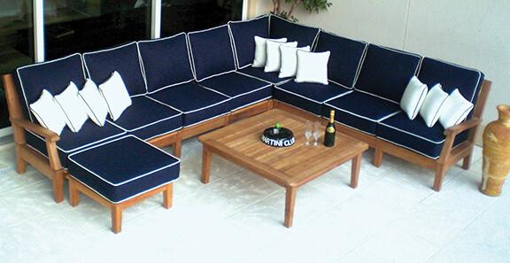 South Beach Teak Sectional Sofa 6pc Set