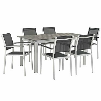 Shoreline 7 Piece Outdoor Aluminum Extension Dining Table Set | Mesh Dining Chairs