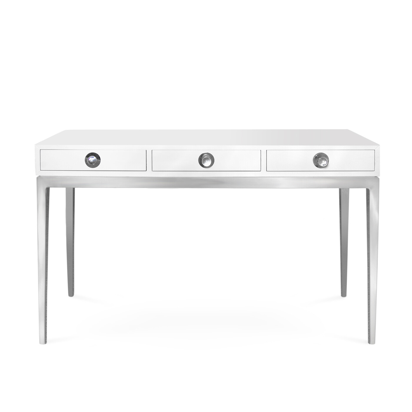 Channing 3 Drawer White and Nickel Console