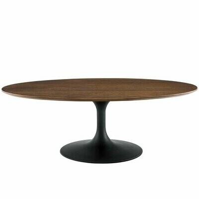 "Lissa 48"" Oval-Shaped Walnut Coffee Table"