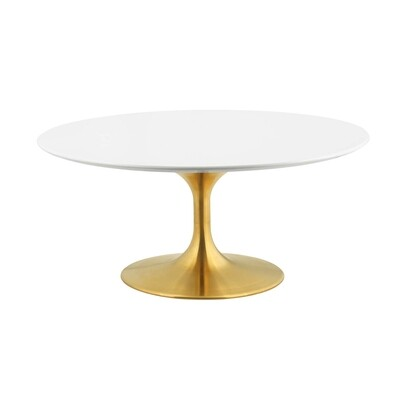 """Lissa 36"""" Wood Coffee Table in Gold White"""
