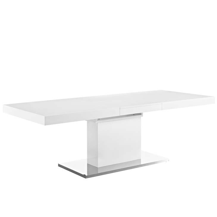 Victor Expandable Dining Table in White Silver