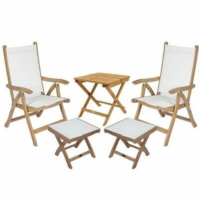 5 Piece Destin Reclining Teak Sling Chair Set