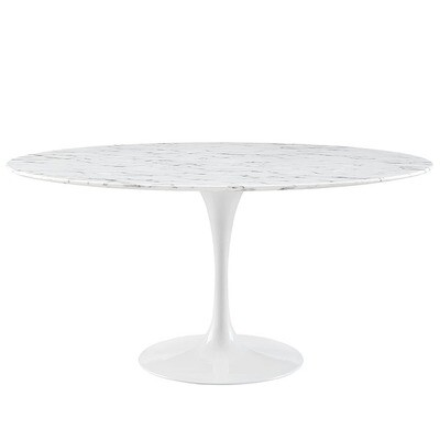 """Lila 60"""" Round Artificial Marble Dining Table in White"""