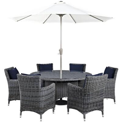 North Avenue 8 Piece Round Dining Set with Umbrella