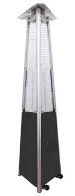 Commercial Grade Glass Tube Patio Heater | Hammered Silver